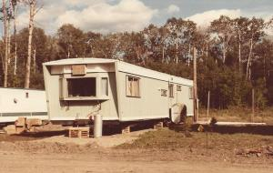 The trailer i lived in, newly trucked in and waiting for insulation and skirting.