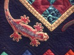 Detail of salamander quilt, Out of Africa, London ON, 2013